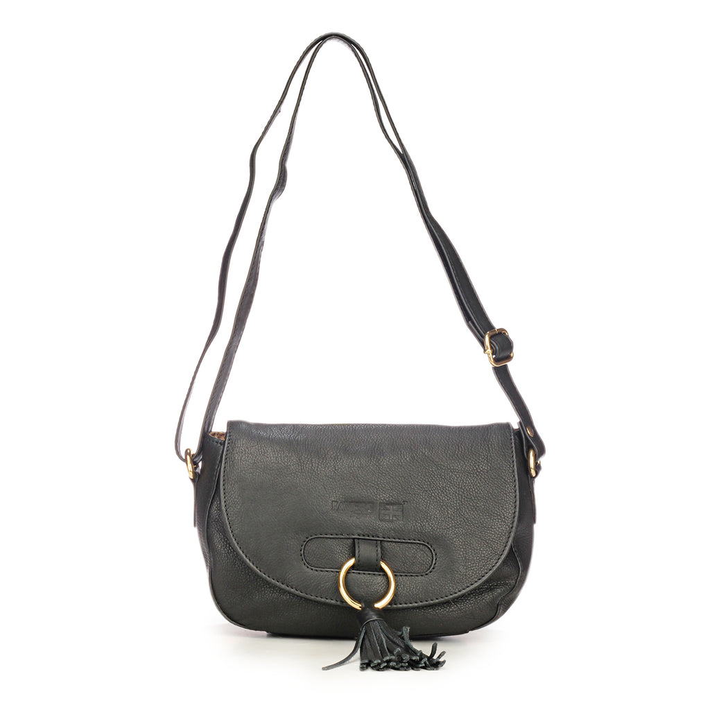 Leather Sling Bag with Tassels for Women-Black
