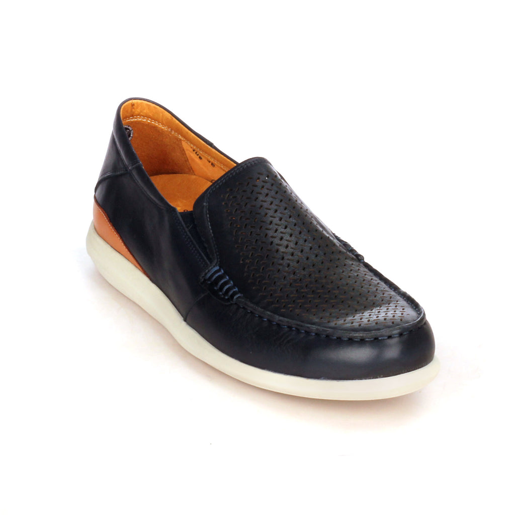 Leather slip-on shoes with low heel for men - Slipon - Pavers England