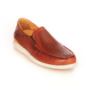 Leather slip-on shoes with low heel for men-Brown - Comfort Fits - Pavers England