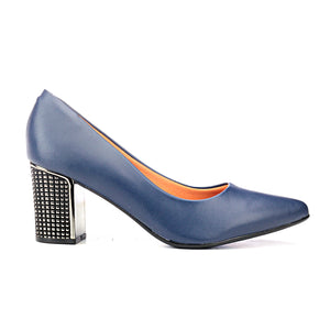 Metallic High-Heel Shoes - Navy - Heels - Pavers England
