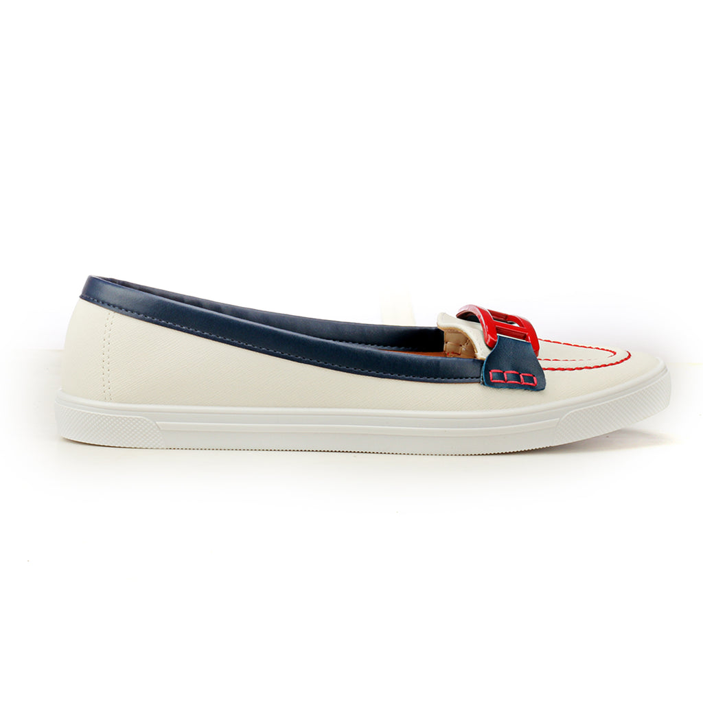 Loafers with Buckle Top - Navy White - Full Shoes - Pavers England