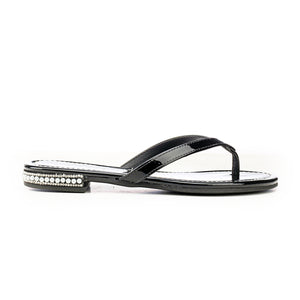 Jewel Embellished Flip Flops for Women-Black