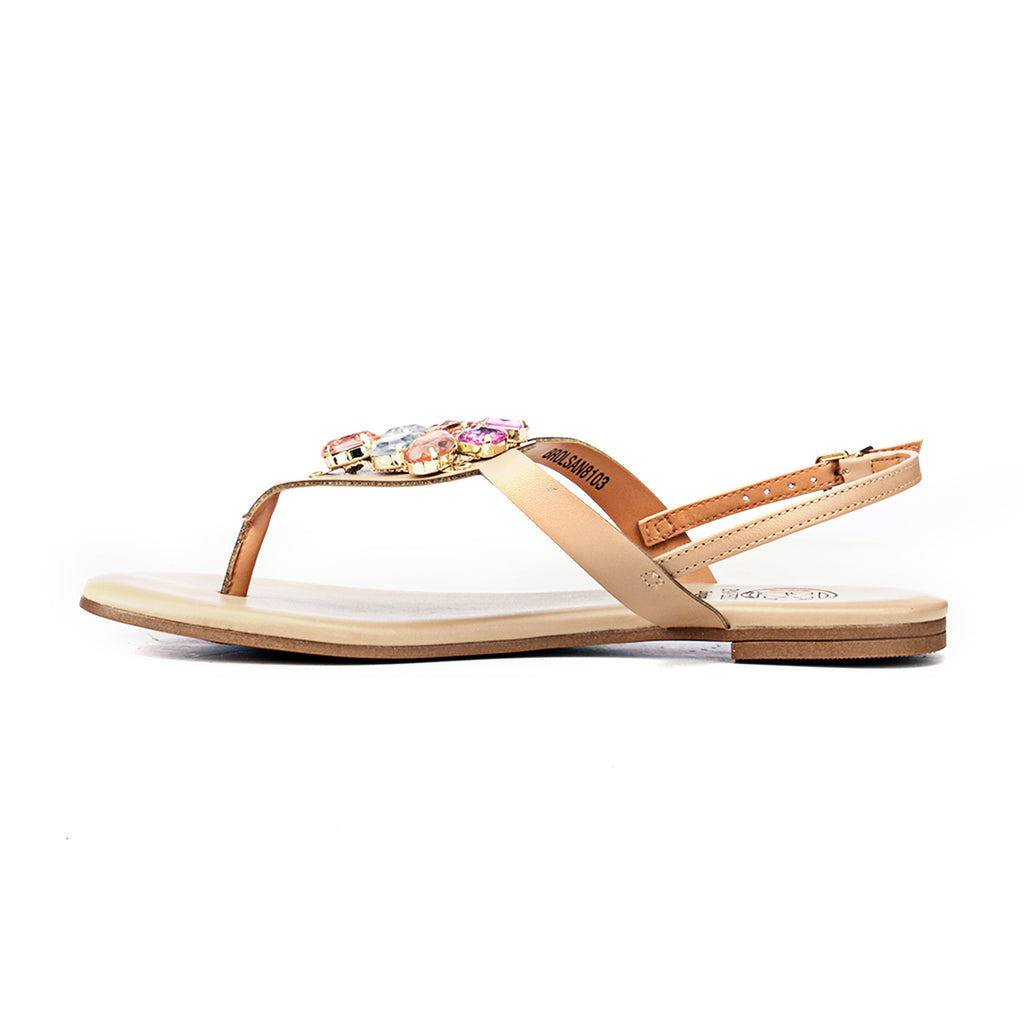 Synthetic Flat Sandals for Women-Beige - Sandals - Pavers England