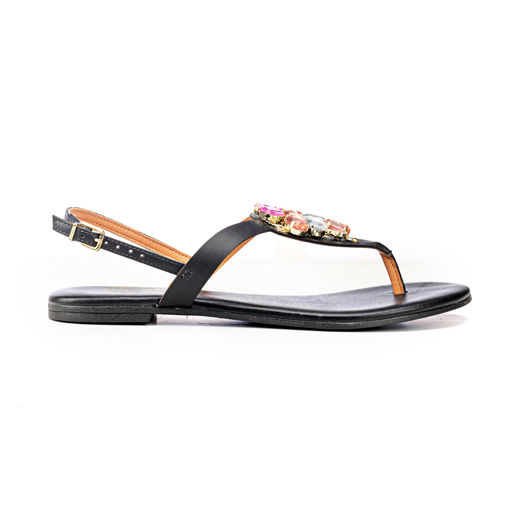 Synthetic Flat Sandals for Women-Black - Sandals - Pavers England