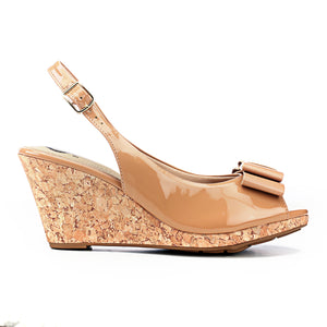 Synthetic Wedge Sandals for Women-Nude - Sandals - Pavers England