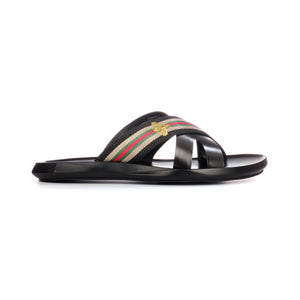Men's striped leather mules with low heel - Black - Open Toe - Pavers England
