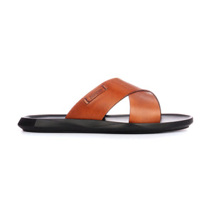 Men's trendy leather mules with low heel - Tan - Open Toe - Pavers England