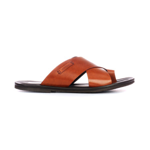 Men's leather toe-post with low heel-Tan