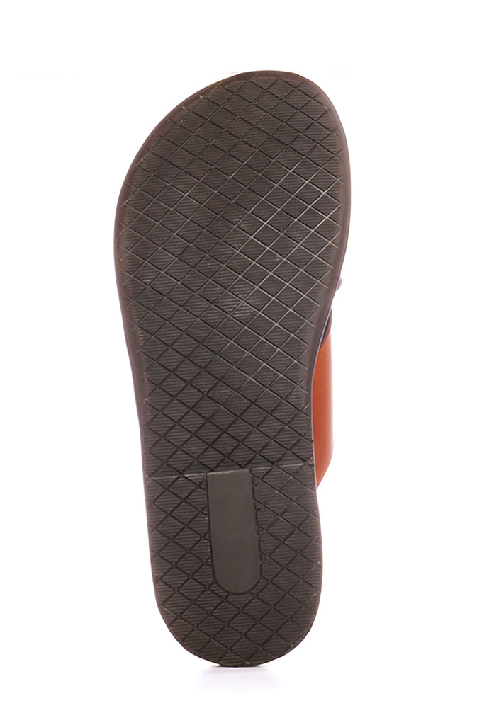 Men's leather toe-post with low heel - Tan - Open Toe - Pavers England