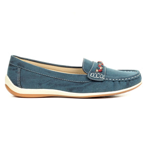 Loafers for Women-Navy - Full Shoes - Pavers England