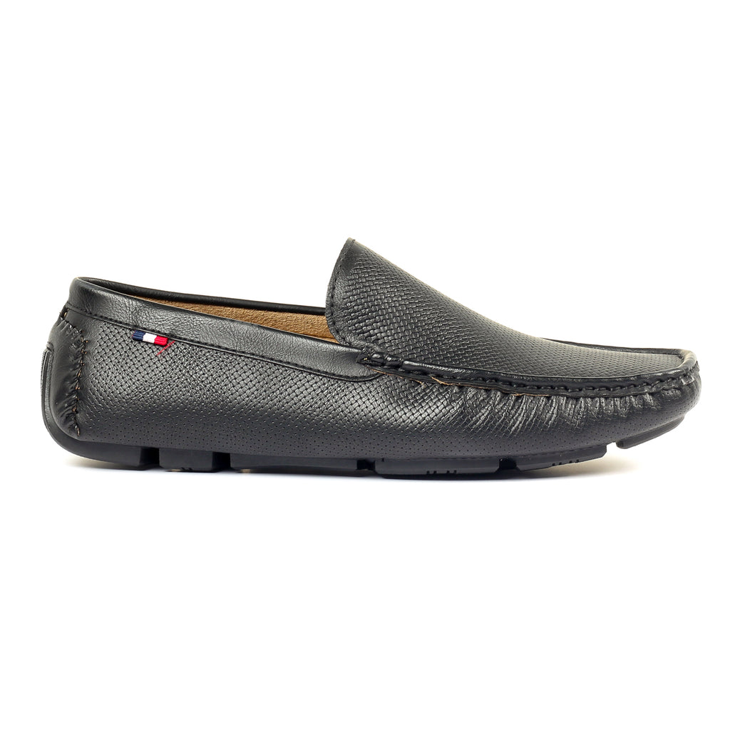 Loafers with Textured Upper-Black - Slip ons - Pavers England