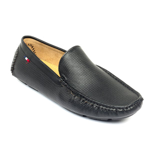 Loafers with Textured Upper - Black - Moccasins - Pavers England