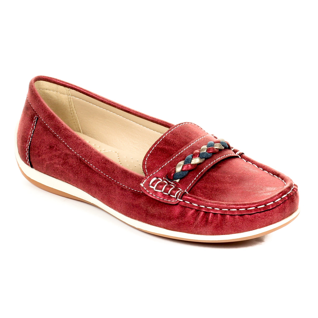 Loafers for Women-Burgundy - Full Shoes - Pavers England