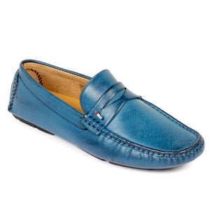 Mens Penny Loafers for Work & Party - Navy - Moccasins - Pavers England