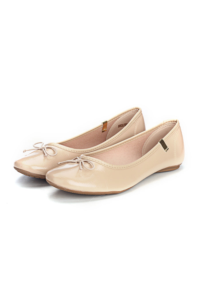 Cute Ballerinas With a Bow - Beige - Full Shoes - Pavers England