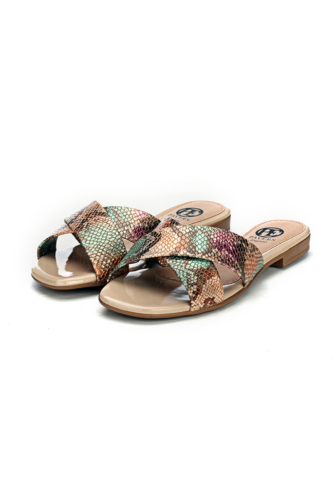 Flat Mules for Women - Beige - Mules - Pavers England
