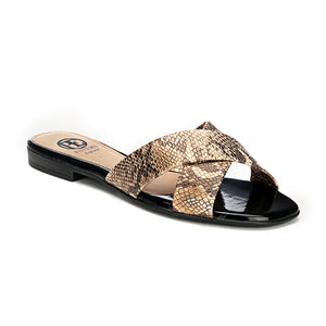 Flat Mules for Women - Black - Open Mules - Pavers England