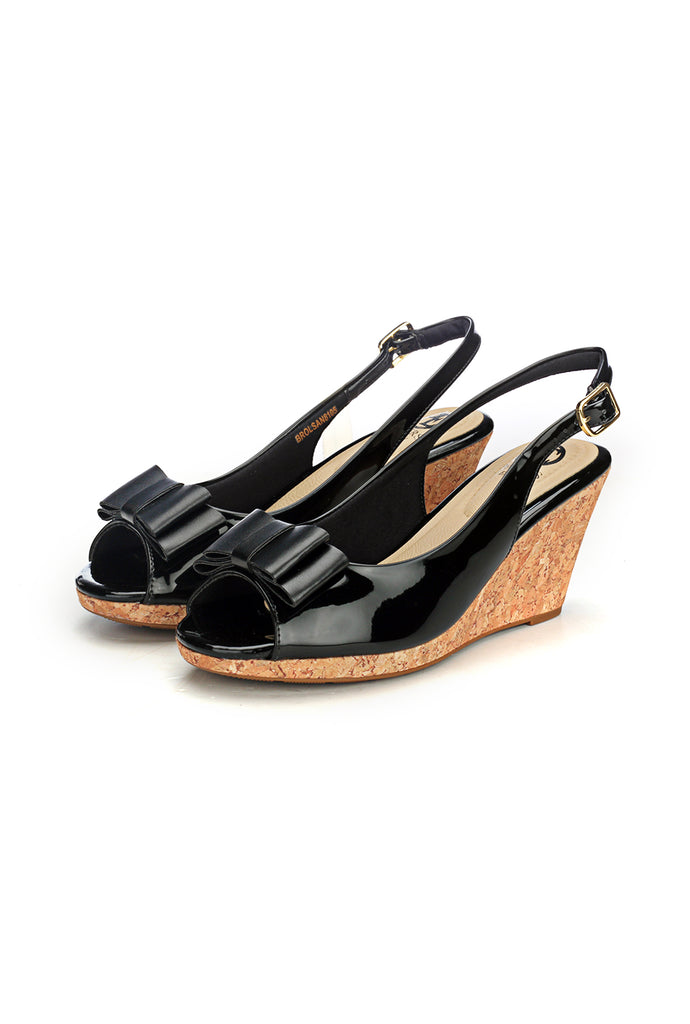 Synthetic Wedge Sandals for Women-Black - Sandals - Pavers England