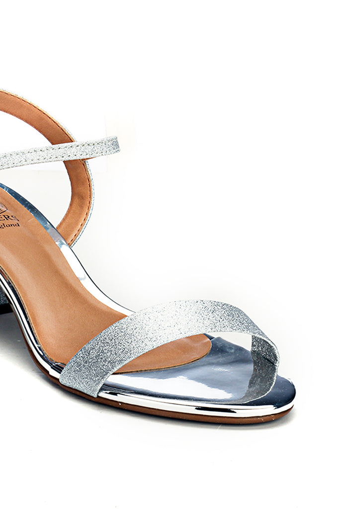 Textile Heel Sandals for Women-Silver - Wedding & Occasion - Pavers England