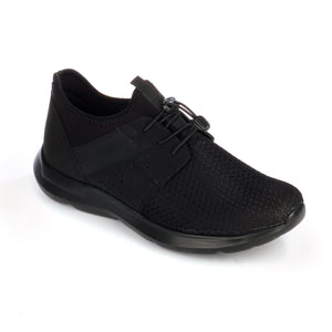 Textured lace-up textile shoes for men - Black - Sneakers - Pavers England