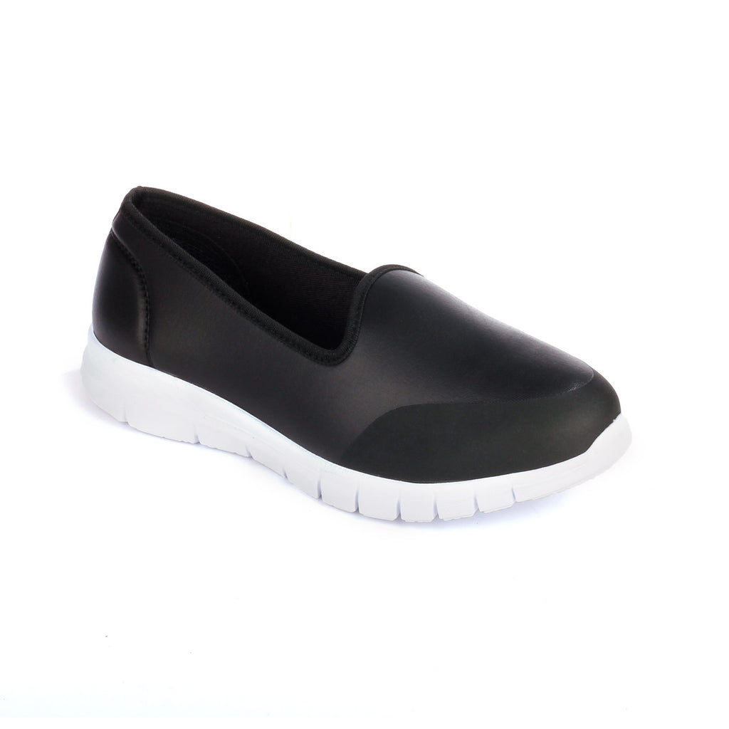 Textile Loafers for Women for Casual / College wear - Black - Full Shoes - Pavers England