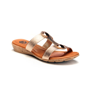 Casual T-Strap Mule Wedges for Women-Gold - Open Mules - Pavers England