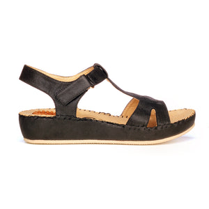 Solid Black Textile Sandals for Women