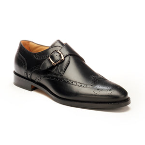 Men's leather monk with buckle-Black - Wedding & Occasion - Pavers England