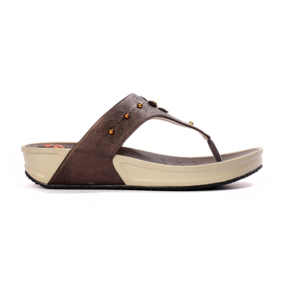Toe Post with Medium Wedge Heel & T straps for Women-Coffee - Toeposts - Pavers England