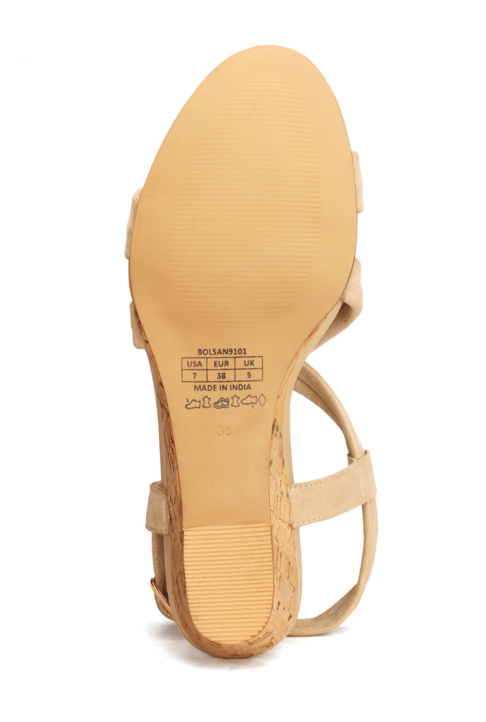 Elegant Striped Suede Sandals for Women - Gold - Sandals - Pavers England