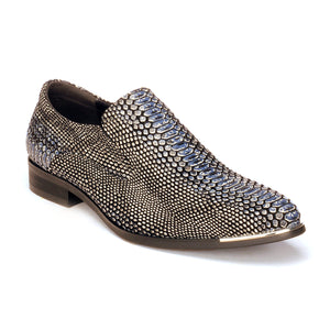 Slip-on Snakeskin Shoe For Men - Black - Wedding & Occasion - Pavers England