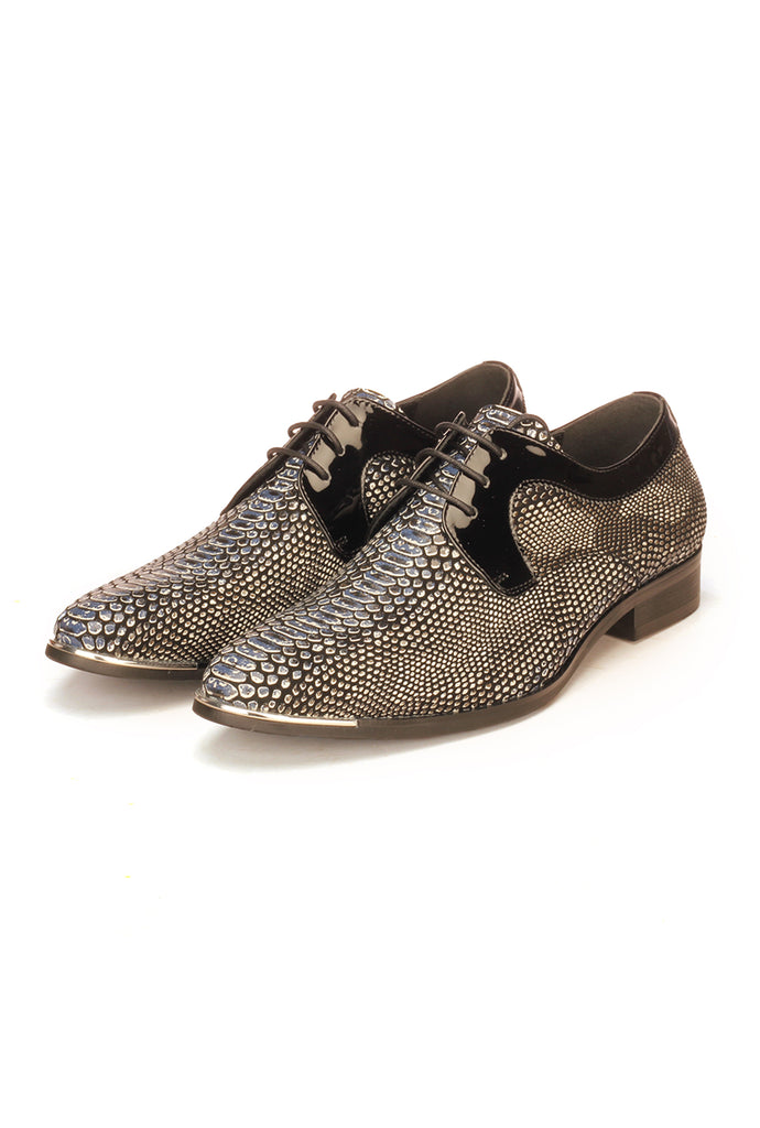 Lace-up Snakeskin Shoe For Men - Black - Wedding & Occasion - Pavers England