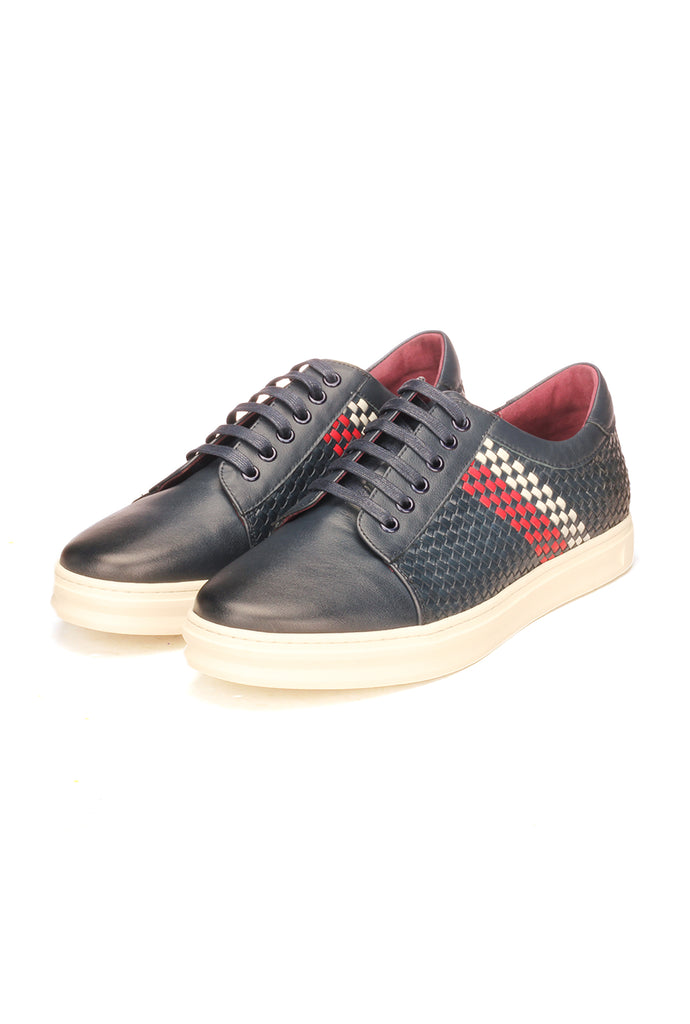 Striped And Checkered Sneakers For Men - Navy - Sneakers - Pavers England