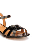 Striped Tan Sandals for Women - Black - Sandals - Pavers England