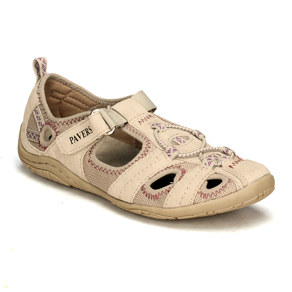 Mesh Styled Leather Slip-on for Women-Grey - Sandals - Pavers England