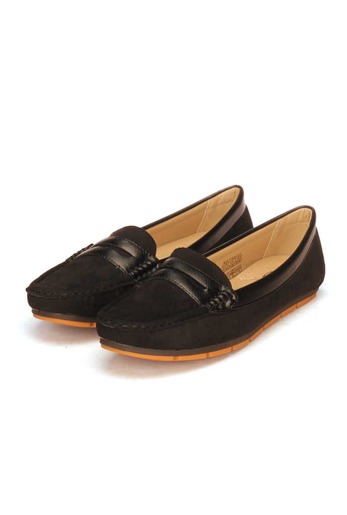 Stylish Textile Slip-on Loafers for Women-Black - Full Shoes - Pavers England