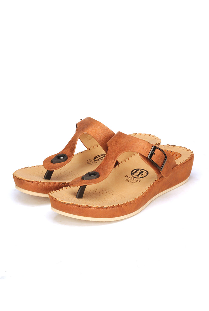 T-Strap Toeposts for Women-Brown - Toeposts - Pavers England