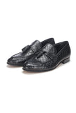 Apron Toe Leather Tassel Loafers - Black - Wedding & Occasion - Pavers England