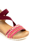 Jewel Embellished Sandals with Ankle Strap-Burgundy - Sandals - Pavers England