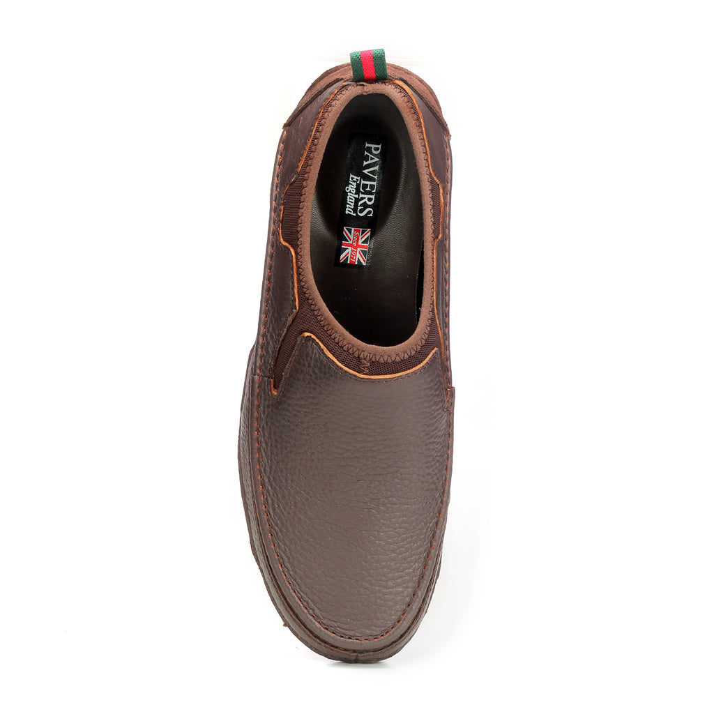 Textured Leather Slip-on Shoes - Brown - Comfort Fits - Pavers England
