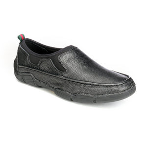 Textured Leather Slip-on Shoes - Black - Comfort Fits - Pavers England