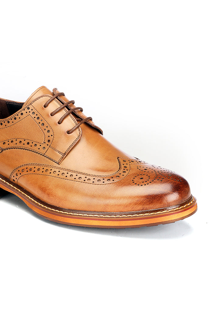 Pavers England Tan Leather Lace-up