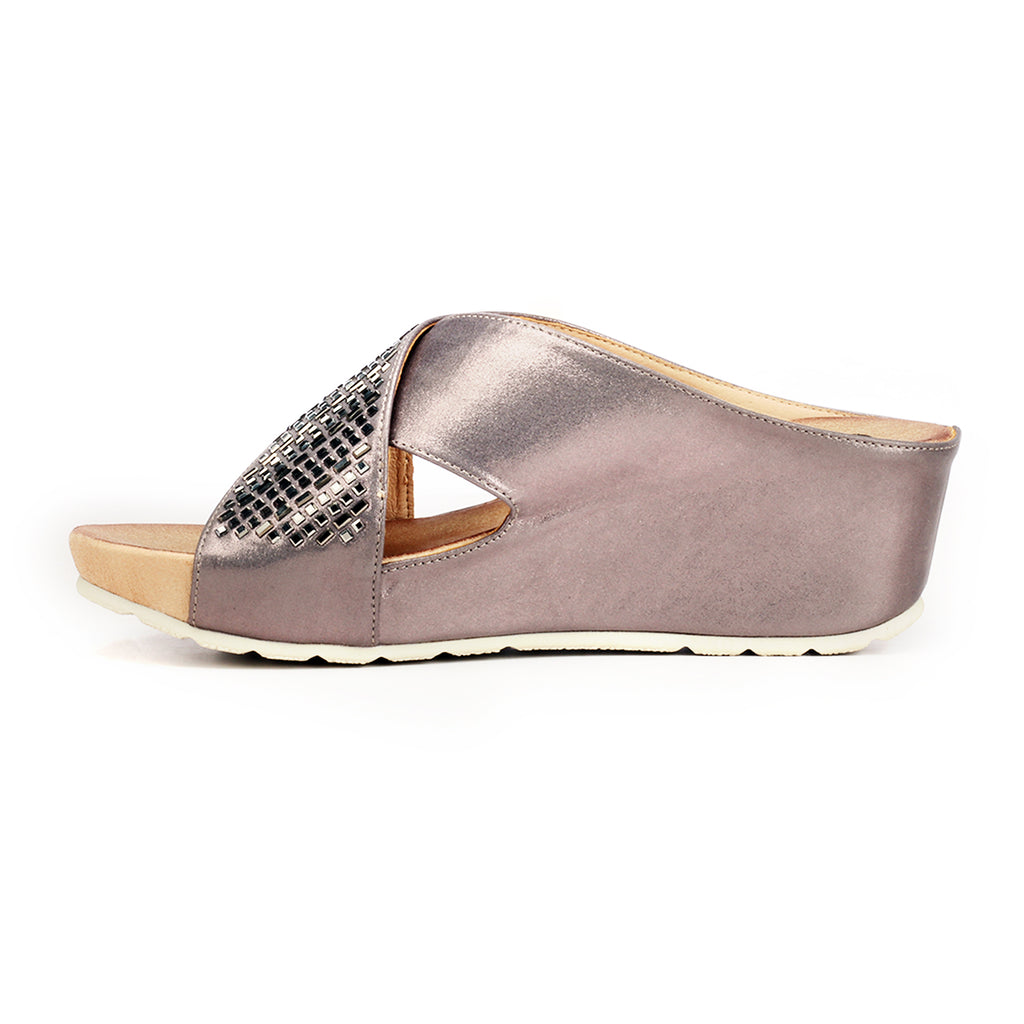 Jewel Embellished Mule Wedges for Women-Pewter - Mules - Pavers England