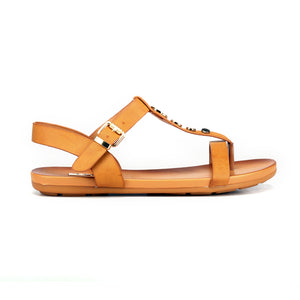 Metal Embellished Sandals with Buckle for Women-Tan