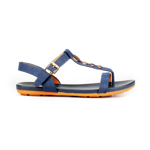 Metal Embellished Sandals with Buckle for Women-Navy - Sandals - Pavers England