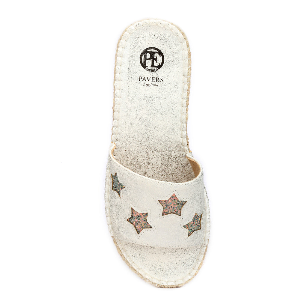 Mules for Women with Patchwork-Silver - Mules - Pavers England