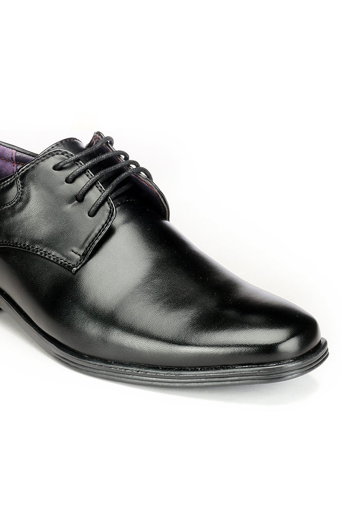 Plain Toe Low Heel Derby Shoes - Black - Laced Shoes - Pavers England
