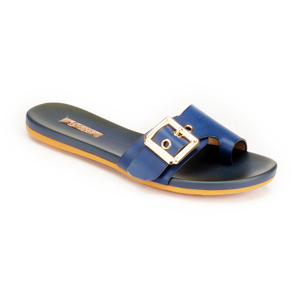 Women's Flat Shoes with Buckle-Navy - Toeposts - Pavers England