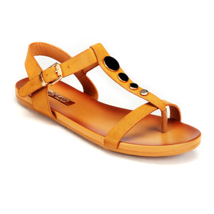 Metal Embellished Sandals with Buckle for Women-Tan - Sandals - Pavers England