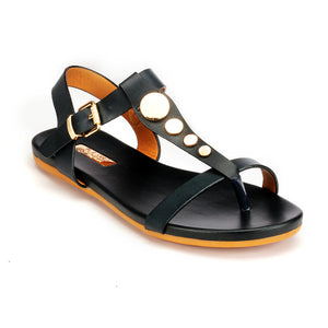 Metal Embellished Sandals with Buckle for Women-Black - Sandals - Pavers England